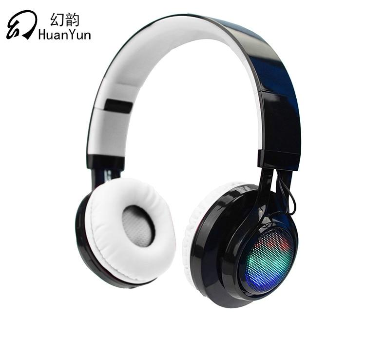 HuanYun Earphone Headphone Bluetooth Wireless Sport Headset Stereo Bass casque earphones with Mic LED light SD