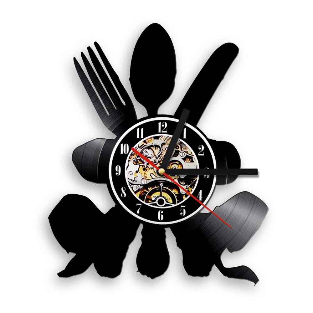 spedizione gratuita 1 pezzi posate utensile da cucina vinile orologio da parete moderno disegno cucchiaio forchetta