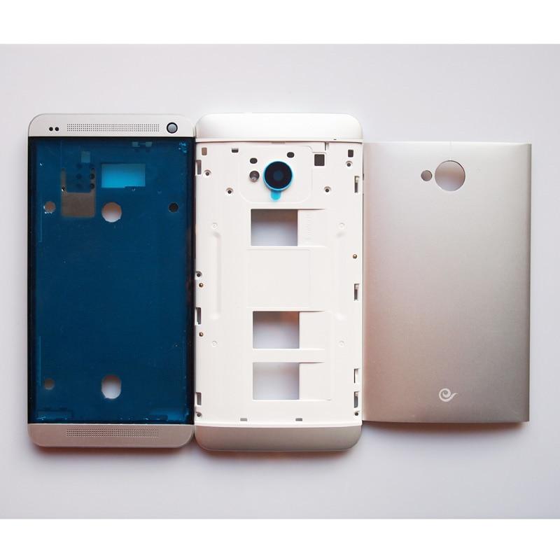 imágenes para 100% Nuevo LCD Marco Frontal Doble Tarjeta de Medio Marco de La Puerta de La Batería Contraportada Caso de Vivienda Para HTC M7 802 Con Volumen de Energía botones