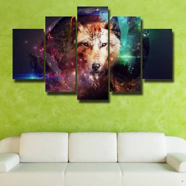Framed Art Wall Theme Dream Wolf 5p Modern Hd Poster Picture Canvas