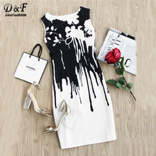 Dotfashion Contrast Drip Black and White Print Sheath Dress Round Neck Sleeveless Short Dress 2017 Summmer Zip Dresses