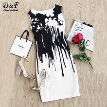 Dotfashion Contrast Drip Black and White Print Sheath Dress Round Neck Sleeveless Short Dress 2017 Summmer Zip Dresses