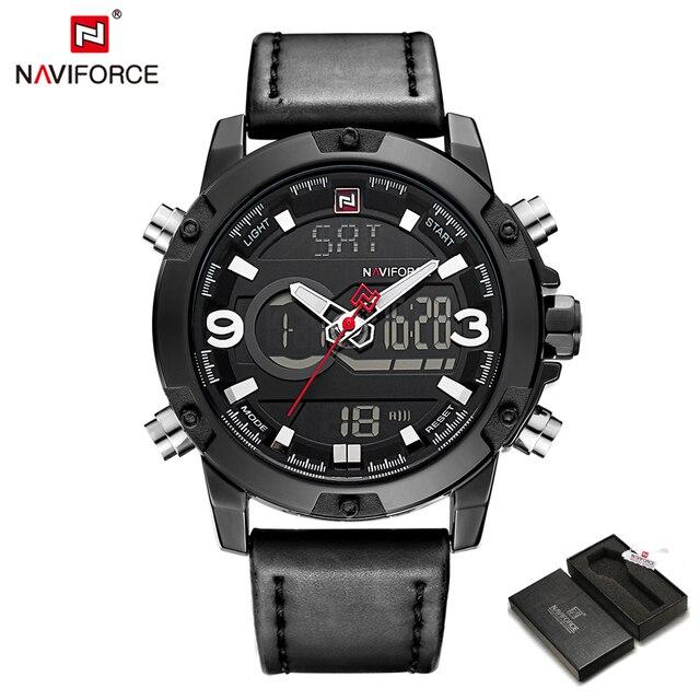 Naviforce deporte de la manera impermeable militar relojes hombres digital relojes de pulsera de cuero saat reloj hombre reloj relogio masculino