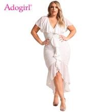 Adogirl Plus Size Chiffon Lace Waterfall Ruffle Midi Dress Sexy V Neck Sheath Bodycon Hi-lo Mermaid Evening Party Dress Outfits