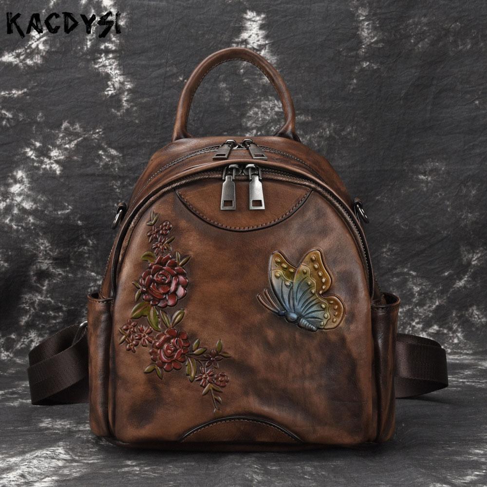 Handmade Genuine Leather Retro Women Backpack Embossed Hand Colored Multifunctional Bookbags Leisure School Bags Travel Knapsack
