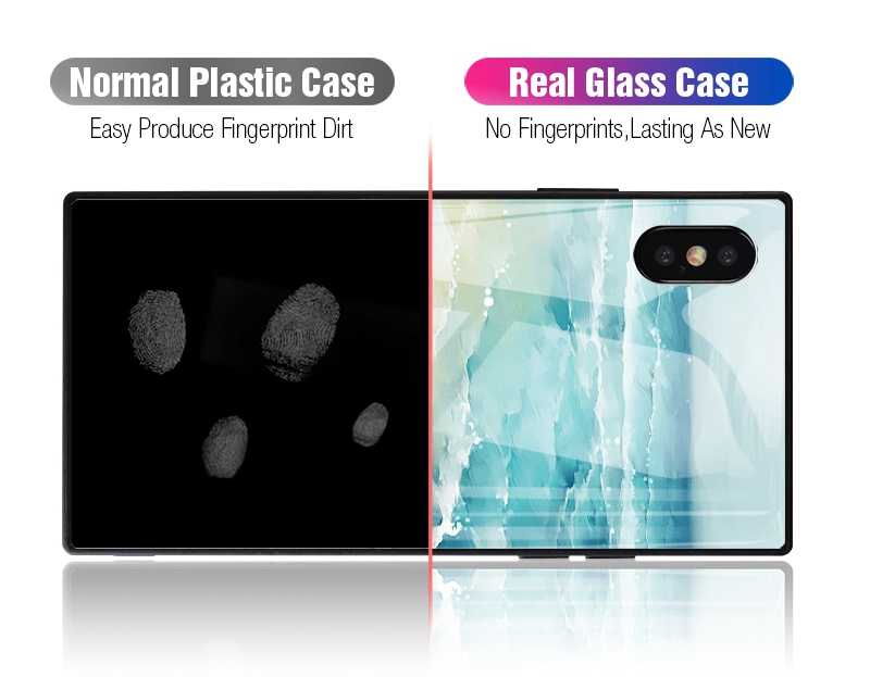 TOMKAS Black Luxury Marble Phone Case for iPhone 6 6s X Xs Glass Back Cover Case for iPhone 7 8 Plus Silicone Square Shockproof  (29)