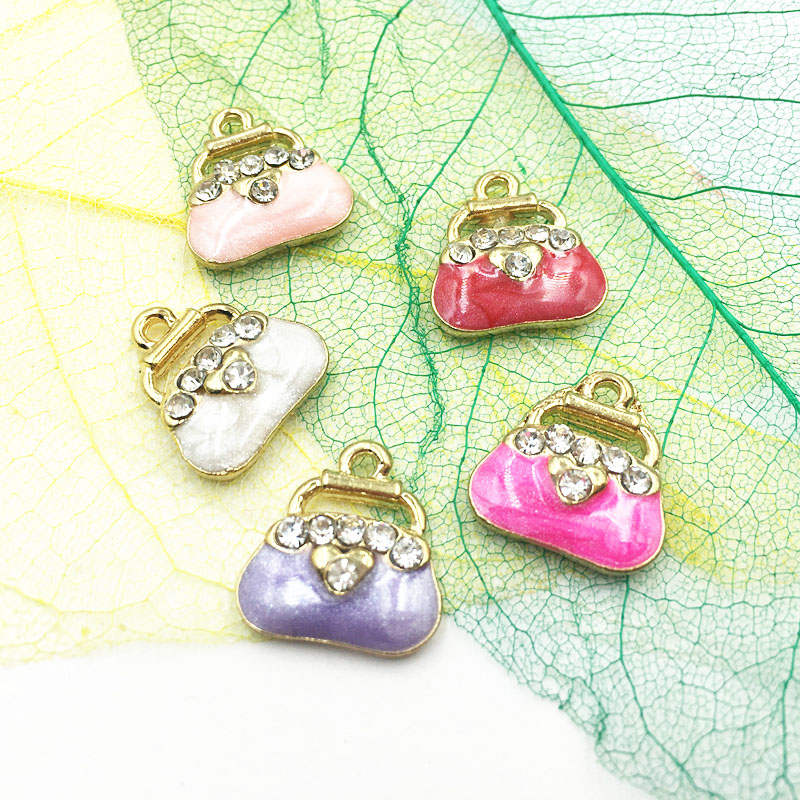 Glitter Enamel Alloy Jewelry Charms 15*14MM 6PCs Gold Tone Alloy DIY Ornament Accessories Women Handbag Bags Charm Pendants