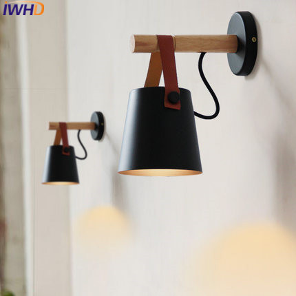 IWHD American Style Iron Modern Wall Light Fixtures Fashion Wood Led Wall Lamp Black White Wandlamp Home Lighting Arandele modern fashion modern wall sconces iron wooden led wall light fixtures wood aisle home indoor lighting bedside wall lamp