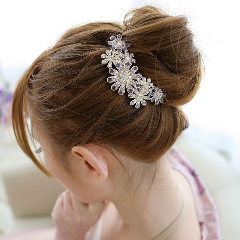 1PC Fashion Crystal Flower Hairpins Metal Hair Clips For Women Female Hairclips Hair Comb Hair Accessories Headwear Styling Tool 1 x fashion wedding bride headdress hair combs crystal rhinestone floral hairpins hairclips hair comb headwear hair accessories