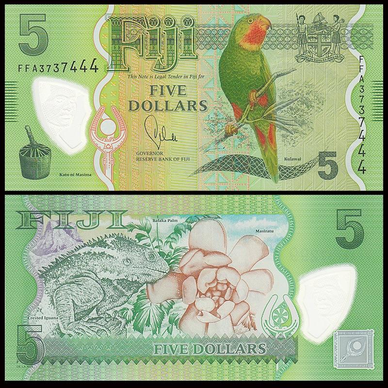 Fiji 5 Dollars, 2013, P-115, Polymer,  Parrot, Oceania UNC, Gift, Original