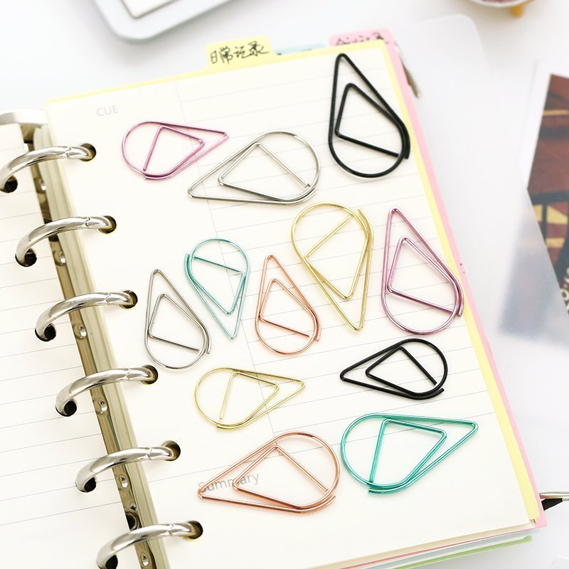 10pcs/lot Art Set Brief Style Waterdrop Shaped Metal Paper Clip Bookmark Stationery School Office Supply Random