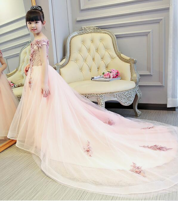 Pink Girls Shoulderless Wedding Dress Long Trailing Party Tulle Princess Birthday Dress Christmas Gown First Communion