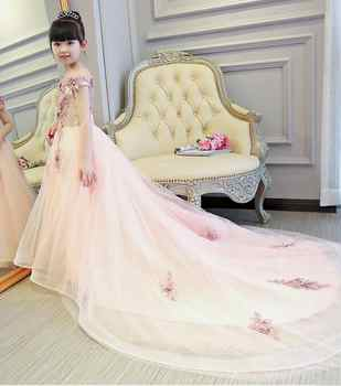 Pink Girls Shoulderless Wedding Dress Long Trailing Party Tulle Princess Birthday Dress Christmas Gown First Communion Dresses - DISCOUNT ITEM  48% OFF All Category