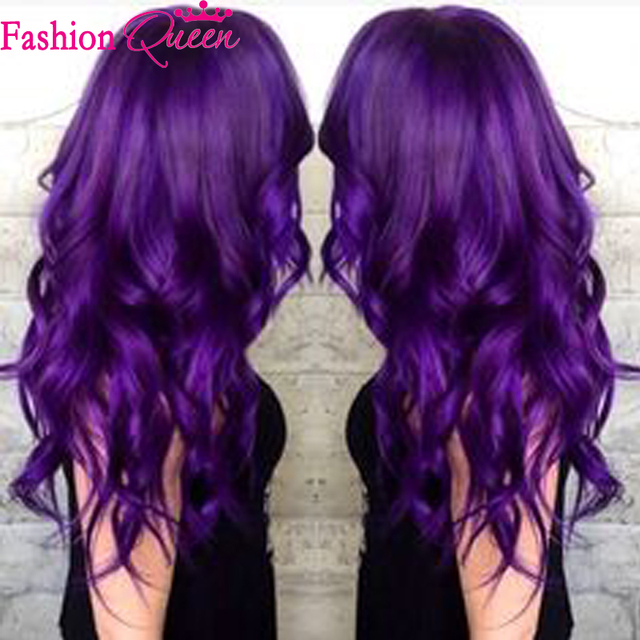 Ombre Full Lace Wigs Human Hair Two Tone Purple Front Virgin Glueless Loose Wave Perruque 8a