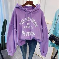 Shuchan Streetwear Women's Sweatshirt 2019 Korean Fashion Cotton Blend Letter Print Pullovers With Hooded Women Top Long Sleeve
