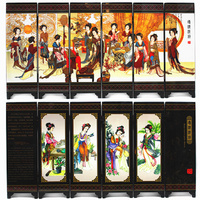 Office Table MINI Folding Screens 6 Joined Panels Decorative Painting Wood Byobu Chinese Beauty Queen Ancient