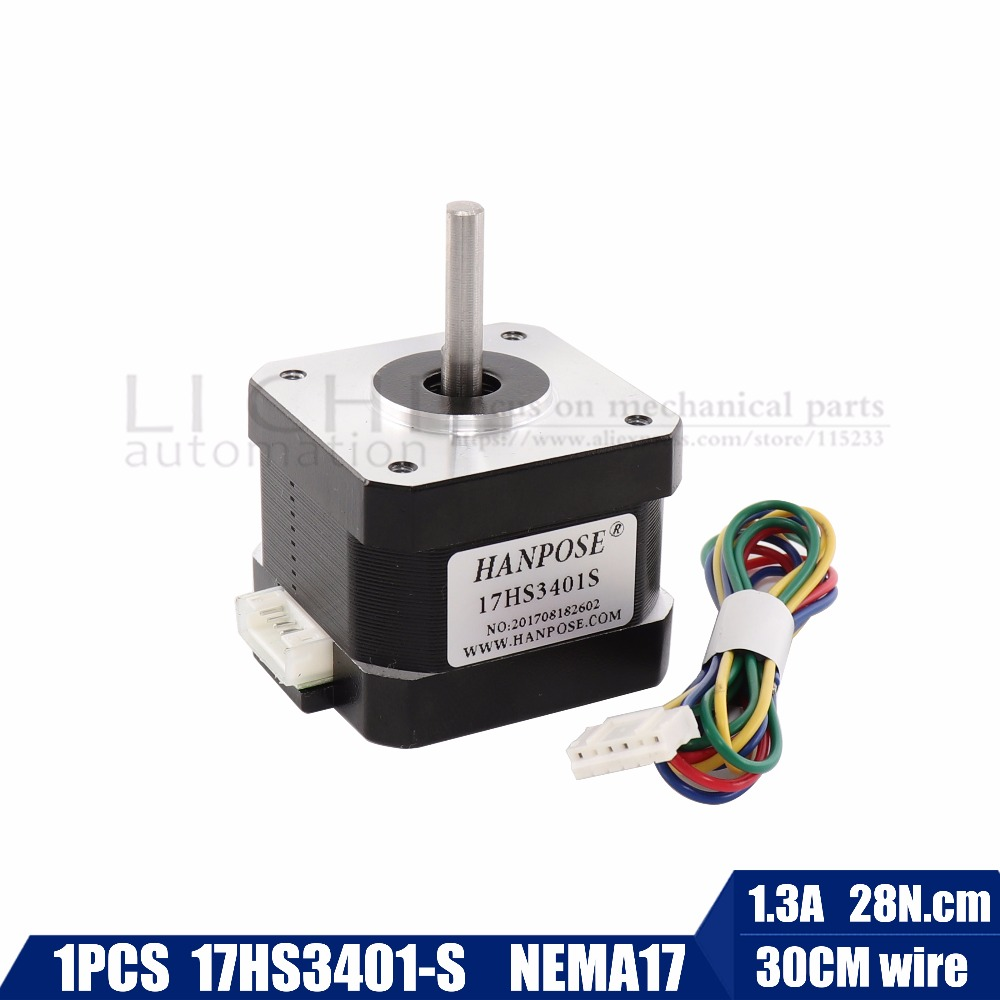 Frete grátis e de Qualidade 17HS3401-S 42 17 4-chumbo Nema Motor de Passo motor 42BYGH 42 1.3A CE ROSH ISO CNC Laser e impressora 3D