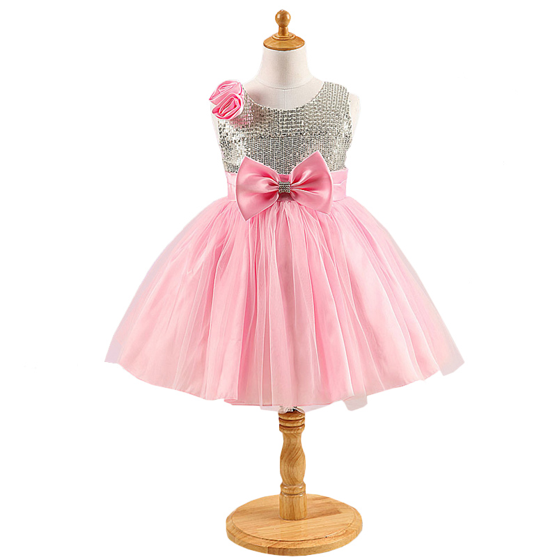Baby Girls Rose Flower Sequins Gauze Party Princess Gown Toddler Big Bow Formal Dresses Teenager Fancy Fashion Dress For Girl gauze fancy rose cirrus printed shawl scarf