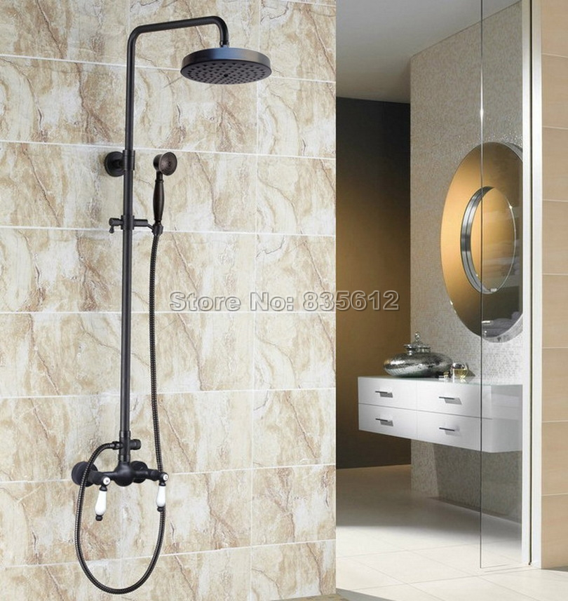 Wall Mounted Bathroom Black Oil Rubbed Bronze Round Shower Head & Rain Shower Faucet Set with Hand Spray Mixer Tap Wrs476