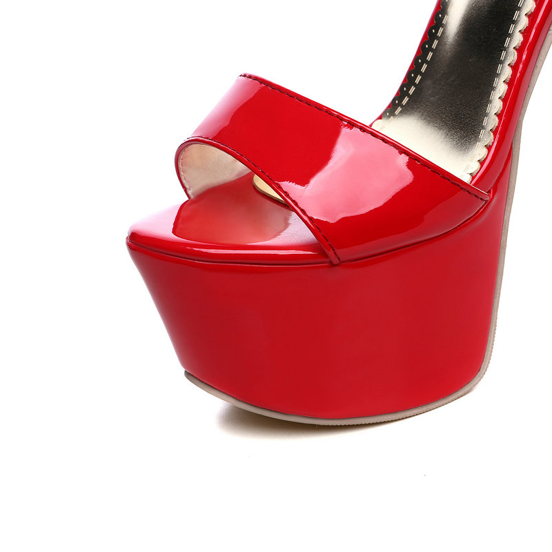 Sexy Heels Cm High Frauen Frau rot Wasserdichte Schuhe Neue Super Superstar Hochzeit Schwarzes weiß Sandalen 16 Plattform fAgqnX