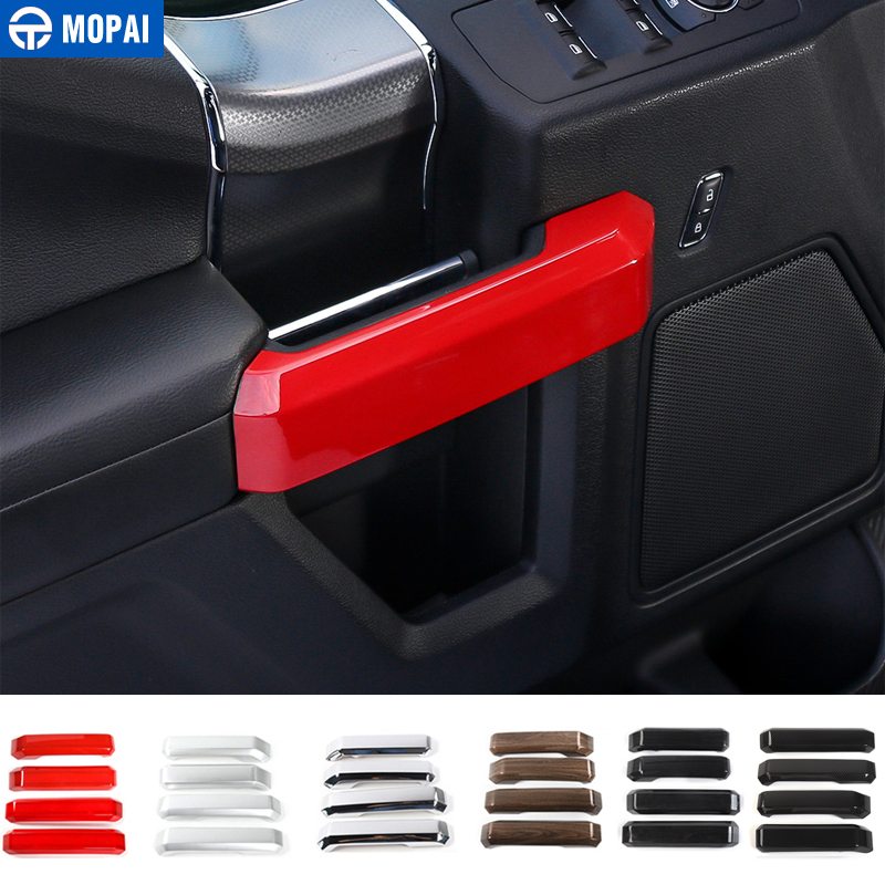 MOPAI ABS Car Interior 4 Door Inner Grab Handle Decoration Cover Trim Stickers For Ford F150