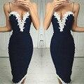Sexy Sling vestido verão 2016 New Arrivals moda v-neck Lace Mulheres vestido