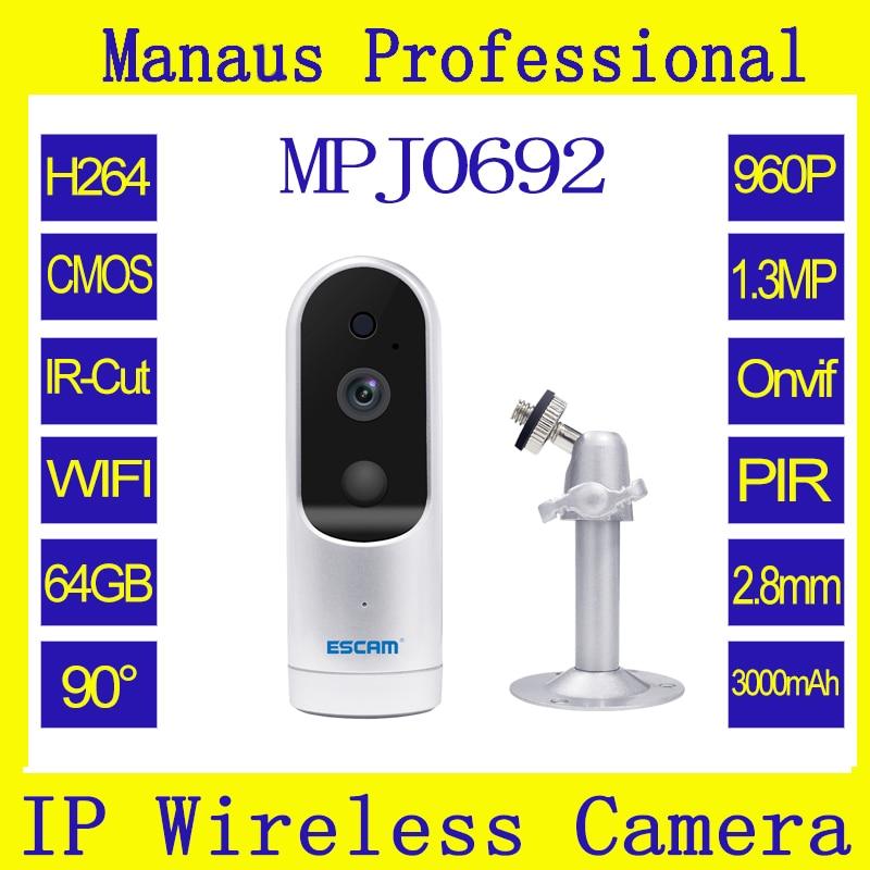 Супер низкой Мощность ожидания 960 P HD WI-FI мини IP Камера Поддержка PIR ONVIF Поддержка Макс до 64 ГБ TF карты Поддержка динамический IP j0692