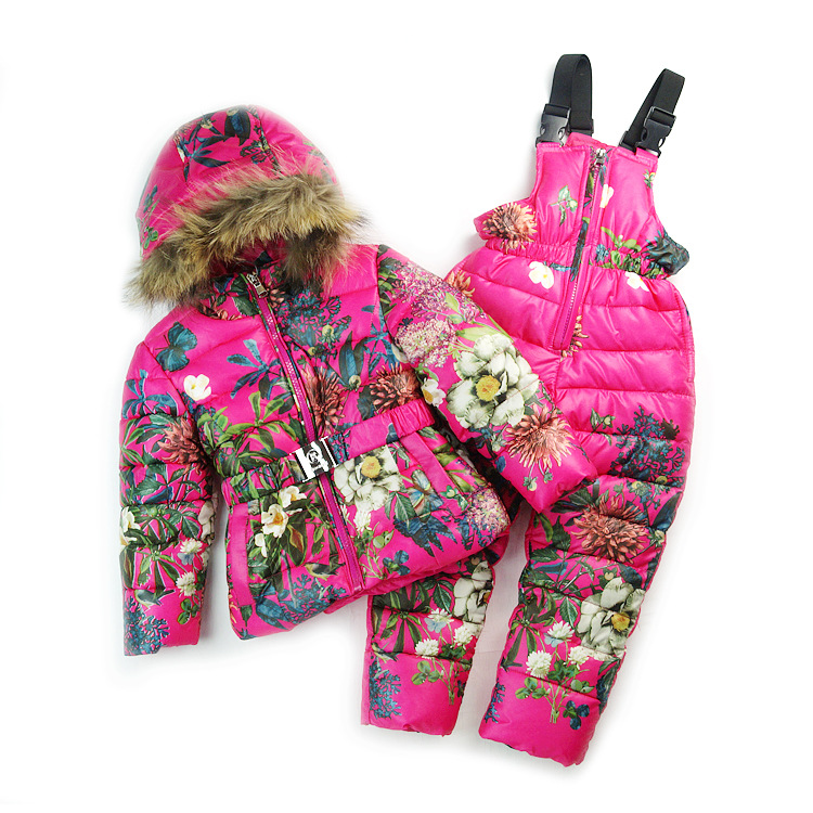 Russia winter ski suit for boys girls kids snow wear children snow suits Butterfly floral pattern down jacket + skiing pants set 2016 new brand children snow runner self balance scooter snow bicycle for kids ski kits