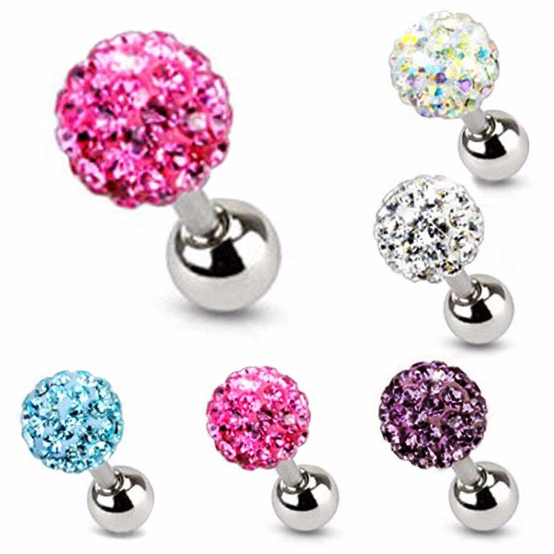 1pcs Ear Nail Bone Barbell Bar Earring Piercing Lip Body helix ear stud tragus Ear Piercing Crystal Cartilage Ring For Men Women
