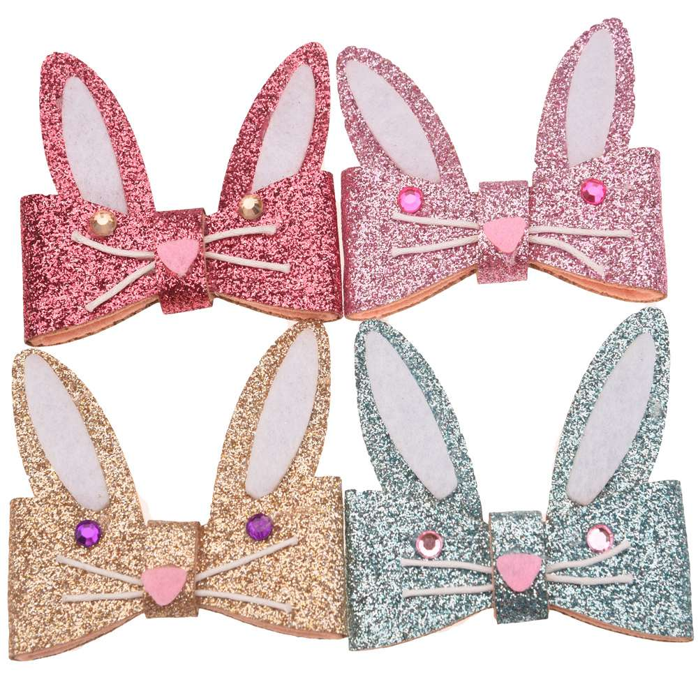100PCS Sequin Bunny appliques 6cm Glitter Cartoon Accessories Easter Hair Accessories No Hair Bow Hairclip for