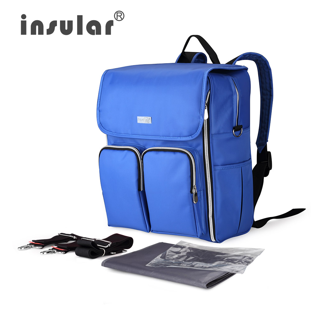 ФОТО Insular New Nylon Waterproof Diaper Bag Backpack Multifunctional Baby Bag Large Capacity Nappy Bag For Stroller Mother Bags