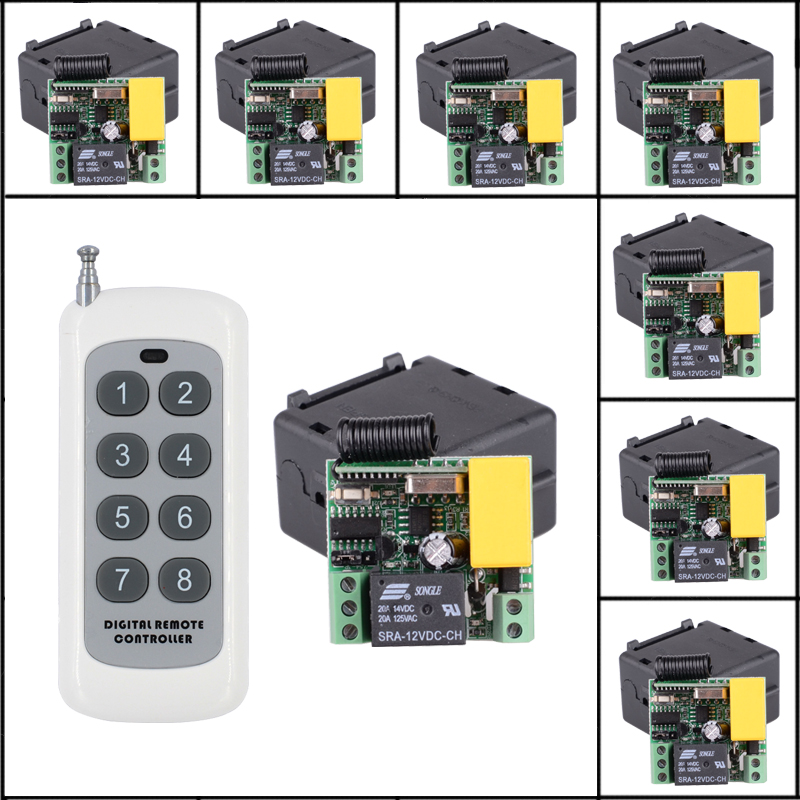 8CH 500M Transmitter 8pcs Mini Size 220V 1CH 10A RF Wireless Remote Control Lights Switch System