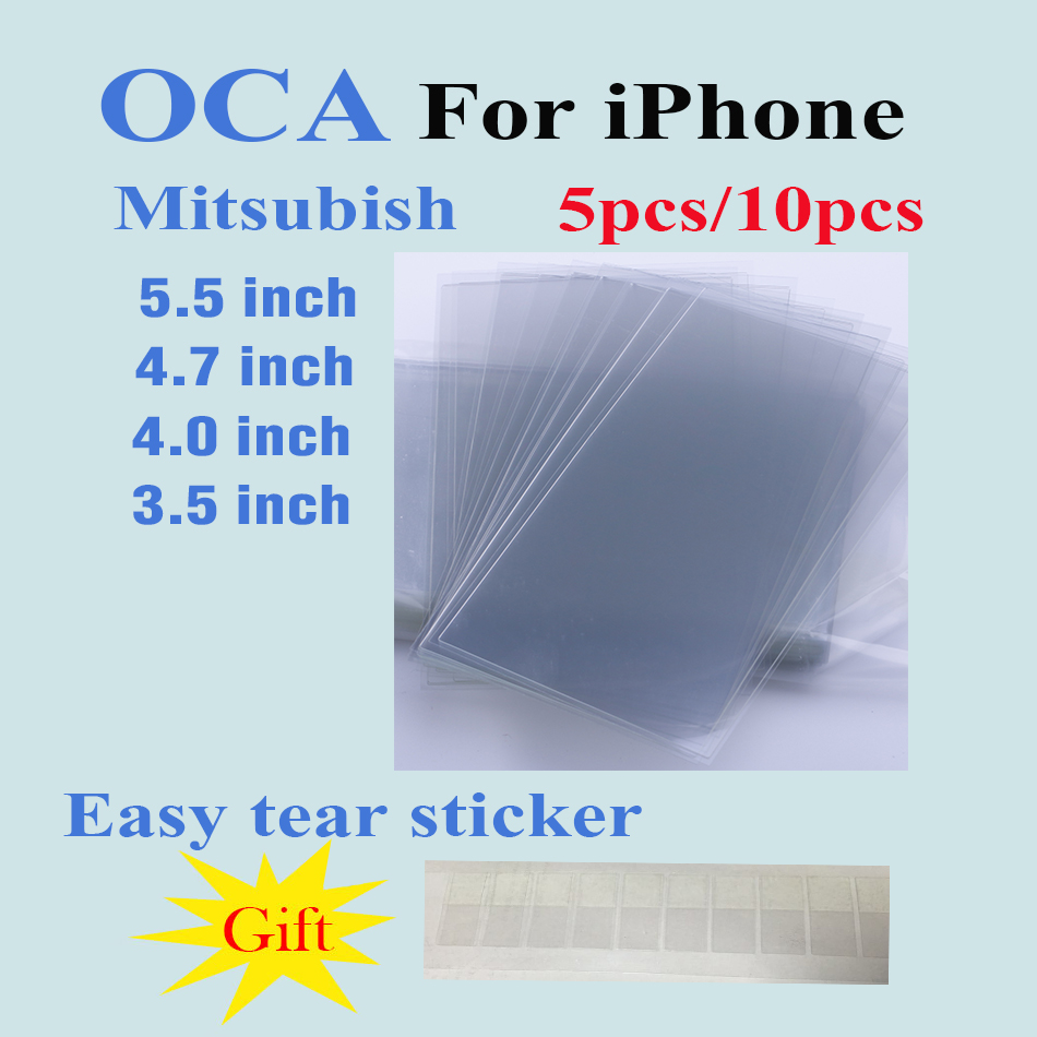 5PCS&10PCS 250um OCA Optical Clear Adhesive For iPhone 8 7 6 6S plus 5C 5S SE 4S 4 Glue Touch Glass Lens Film+easy tear sticker