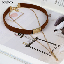 JOYROX Fashion Velvet Leather Women Choker 2017 Hot Punk Style Necklace Gothic Gold Silver Long Chain Colar Pendant Jewelry