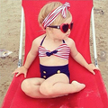Bebé niñas traje de baño Rayas botones Dividida traje de baño de baño Bikini ropa de Recién Nacido de los niños con banda de Sujeción para niños SPA traje de baño