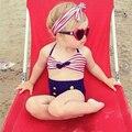 Meninas do bebê swimwear Listrado botões das crianças Dividir maiô Biquíni nadar roupas de Recém-nascidos com Headband crianças SPA swimwear