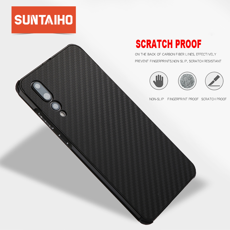 Suntaiho for huawei p20 pro case Carbon fiber phone case for huawei p10 lite case for huawei p smart Cover mate 10 honor 9