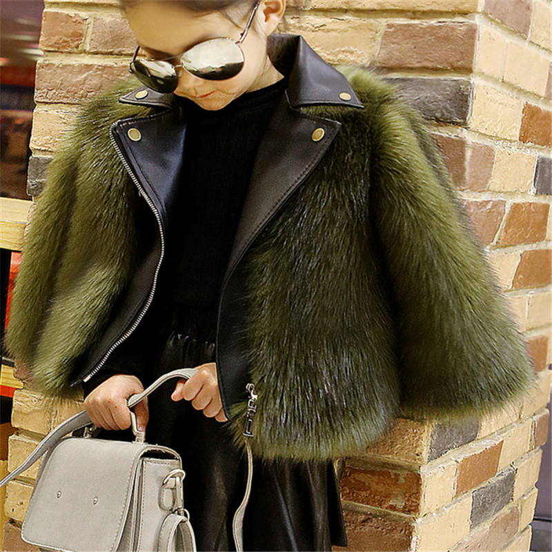 Luxury style Boys and Girls Fur Coat Baby PU Leather Faux Fox Fur Motorcycle Jackets For Girls Winter Warm Kids Outerwear Coats children s unisex faux fur clothing 2018 winter girls and boys patchwork faux fur jackets boys long faux fur outerwear kids coat