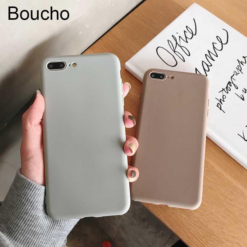Boucho القهوة الخفيفة رمادي اللون الهاتف حقيبة لهاتف أي فون XS ماكس XR X لينة غطاء سيليكون آيفون 6 6s 7 8 plus 5 5s SE حالات كابا