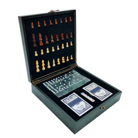 Hot Design Folding Wooden Box 4 In 1 International Chess Poker Dice Dominoes SetsTravel Games Entertainment Board Games qenueson