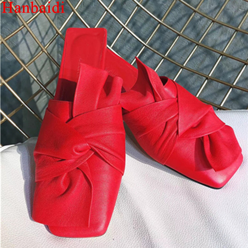 Hanbaidi Women Summer Slippers Real Leather Slip On Bowknot Decor Beach Shoes Runway Outfit Shoes Casual Flats Sandalias Mujer instantarts women flats emoji face smile pattern summer air mesh beach flat shoes for youth girls mujer casual light sneakers