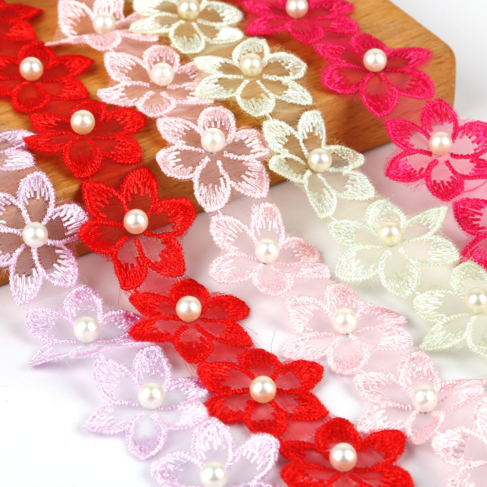 Various Colours Flower Pearl Lace Edge Trim Wedding Dress Applique Sewing Craft