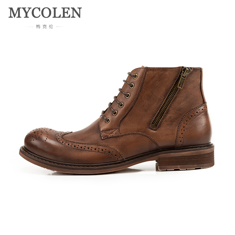 цена на MYCOLEN Brand Winter Warm Boots Men Cow Leather Men'S Boots High Quality Motorcycle Ankle Fashion Men Shoes Sapato Masculino