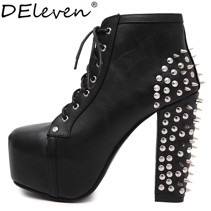 ФОТО 274 Rivets Decoration High Platform Square Toe Block Chunky Heel Boots Laced High Heels Punk Motorcycle Boots Woman Shoes Size9