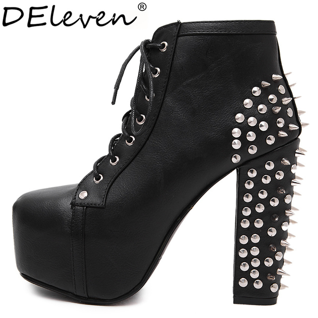 274 Rivets Decoration High Platform Square Toe Block Chunky Heel ...