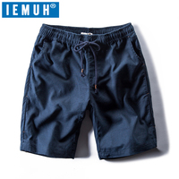 IEMUH New Casual Shorts Men Cotton Linen Casual Loose Short Pants Knee Length High Quality Brand