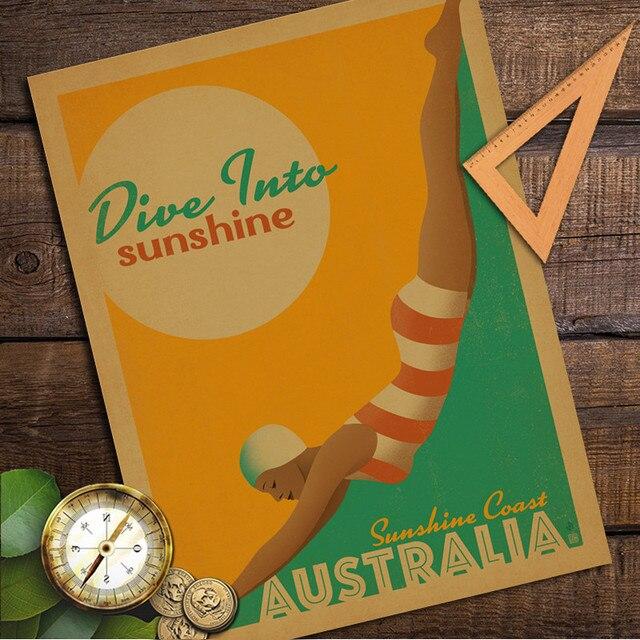 Australia Sunshine Coast Vintage Retro Poster Kraft Paper Wall ...