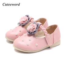 Girls leather shoes child princess shoes flowers pearl party shoes for girls non-slip comfort soft soled leather shoe pink white все цены