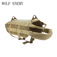 Police K9 Tactical Training Dog Harness Military Molle V elcro Vest Packs Coat 4 Color XS XL