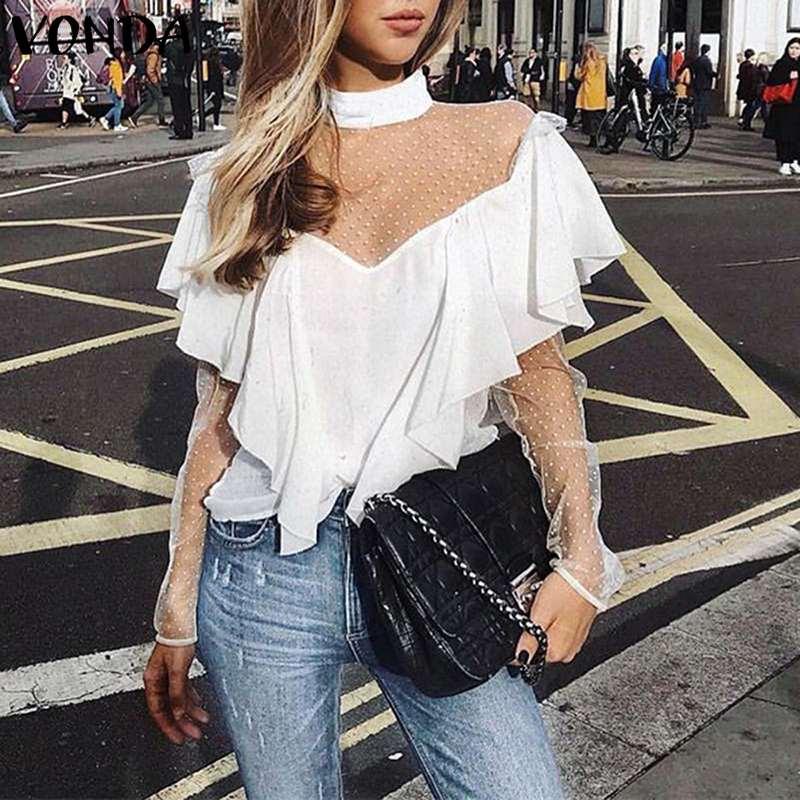 Lace Blouse Women Shirts Vintage Patchwork Dot Print Shirt 2020 Summer Autumn Long Sleeve Blusas VONDA Sexy Party Tops Plus Size